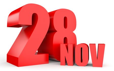 November 28. Text on white background. 3d illustration. Stock Photo
