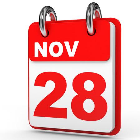 November 28. Calendar on white background. 3D illustration.