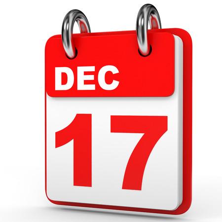 17: December 17. Calendar on white background. 3D illustration. Stock Photo