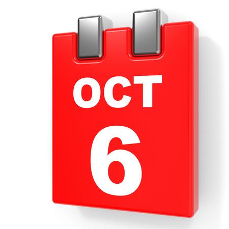 October 6. Calendar on white background. 3D illustration.