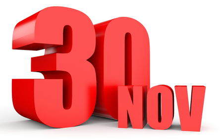 November 30. Text on white background. 3d illustration. Stock Photo