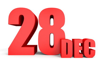 December 28. Text on white background. 3d illustration. Stock Photo