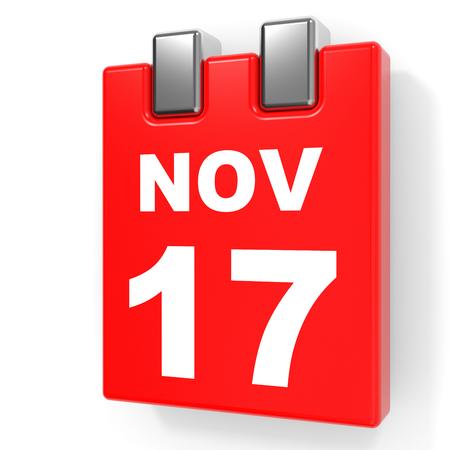 17: November 17. Calendar on white background. 3D illustration. Stock Photo