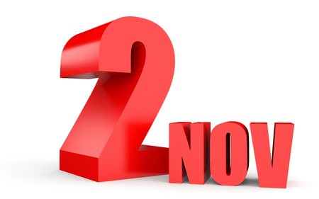 2 november: November 2. Text on white background. 3d illustration. Stock Photo