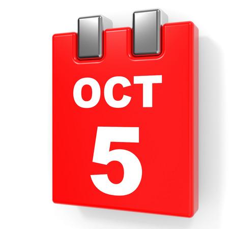 October 5. Calendar on white background. 3D illustration.