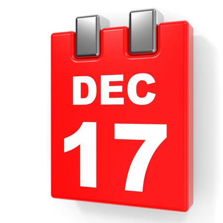 December 17. Calendar on white background. 3D illustration. Stock Photo