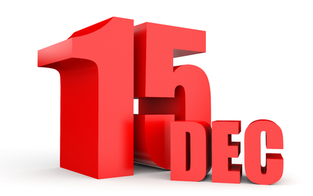 December 15. Text on white background. 3d illustration.