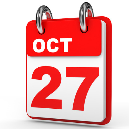October 27. Calendar on white background. 3D illustration.