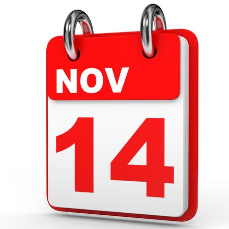 november 3d: November 14. Calendar on white background. 3D illustration. Stock Photo