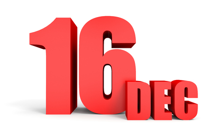 sixteenth note: December 16. Text on white background. 3d illustration.