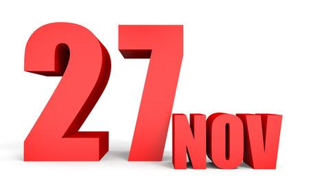 27: November 27. Text on white background. 3d illustration.