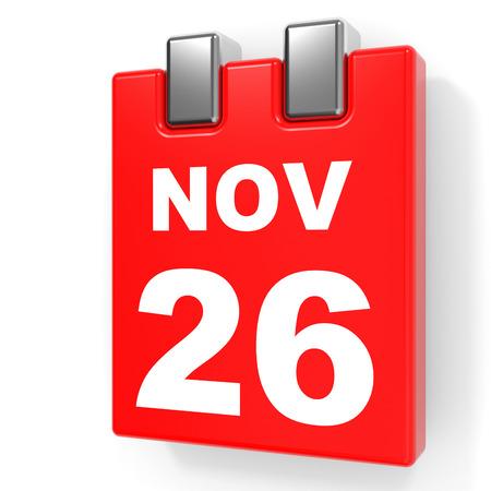 November 26. Calendar on white background. 3D illustration.