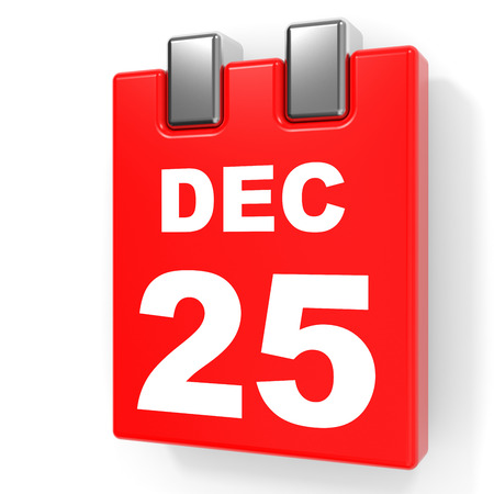 December 25. Calendar on white background. 3D illustration.