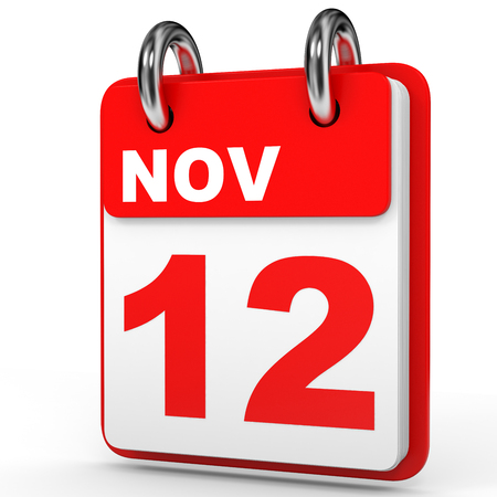 12: November 12. Calendar on white background. 3D illustration. Stock Photo
