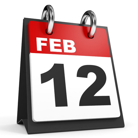 12: February 12. Calendar on white background. 3D illustration.