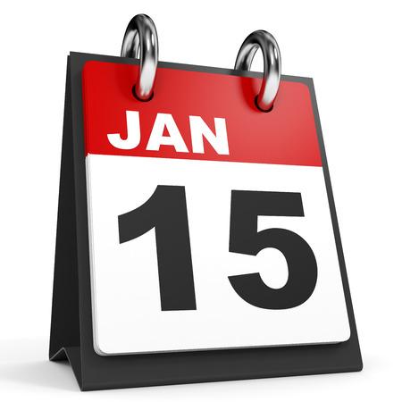 fifteen: January 15. Calendar on white background. 3D illustration.