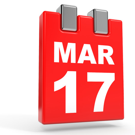 17th march: March 17. Calendar on white background. 3D illustration. Stock Photo
