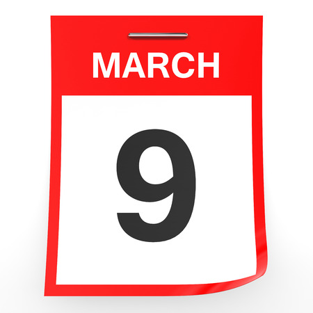 9th: March 9. Calendar on white background. 3D illustration. Stock Photo
