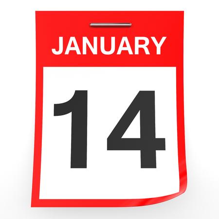 fourteenth: January 14. Calendar on white background. 3D illustration.