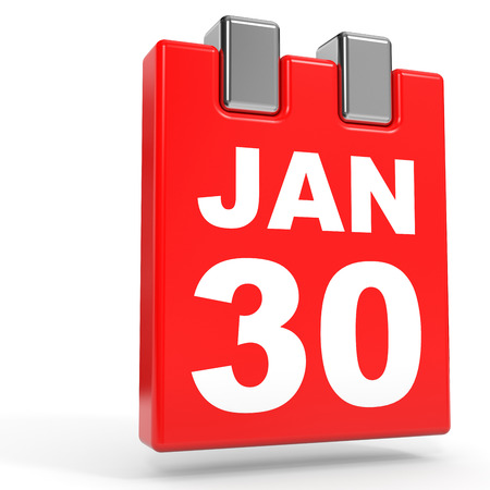 January 30. Calendar on white background. 3D illustration.