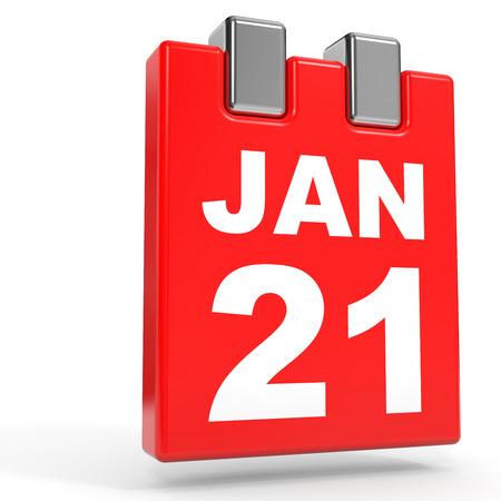 1 january: January 21. Calendar on white background. 3D illustration. Stock Photo