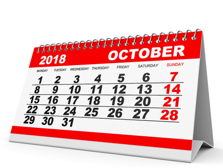 calendar october: Calendar October 2018 on white background. 3D illustration.