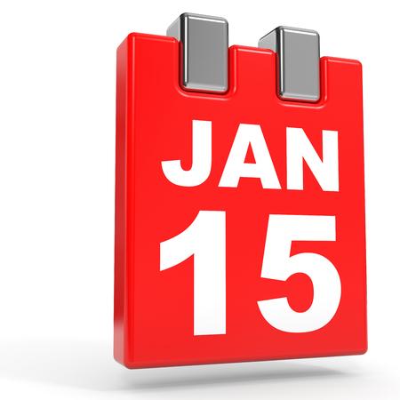 15: January 15. Calendar on white background. 3D illustration.