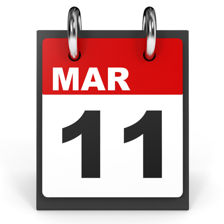 number eleven: March 11. Calendar on white background. 3D illustration. Stock Photo