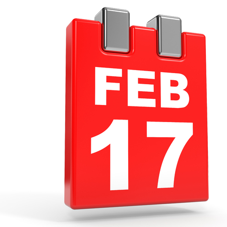 seventeenth: February 17. Calendar on white background. 3D illustration.
