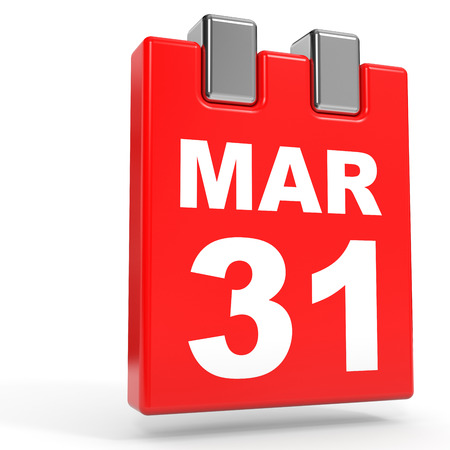 31: March 31. Calendar on white background. 3D illustration. Stock Photo