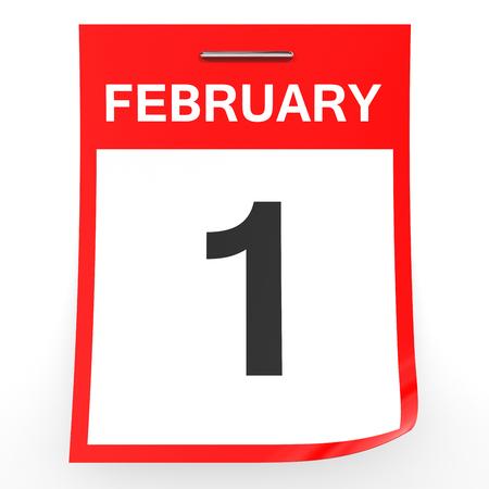 february 1: February 1. Calendar on white background. 3D illustration.