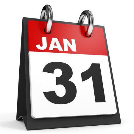 january 1st: January 31. Calendar on white background. 3D illustration.