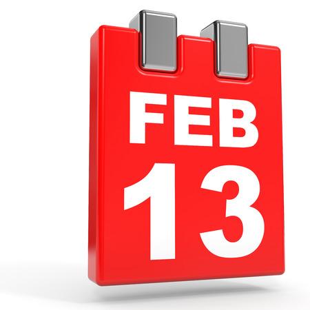 13: February 13. Calendar on white background. 3D illustration. Stock Photo