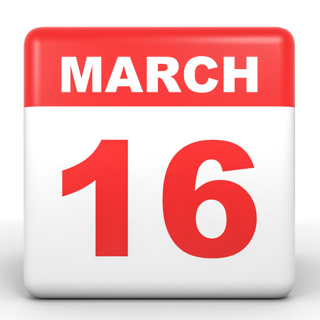 sixteenth note: March 16. Calendar on white background. 3D illustration.