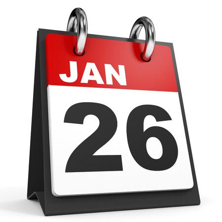 twenty sixth: January 26. Calendar on white background. 3D illustration.