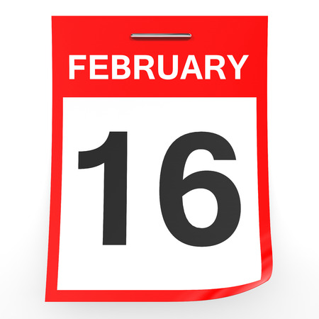 sixteenth note: February 16. Calendar on white background. 3D illustration. Stock Photo