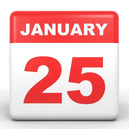 twenty fifth: January 25. Calendar on white background. 3D illustration.