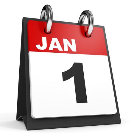 january 1: January 1. Calendar on white background. 3D illustration.