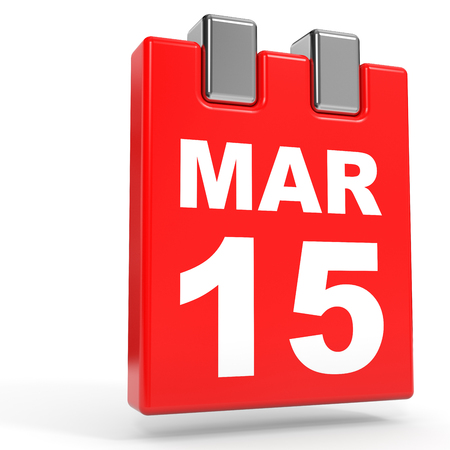 fifteen: March 15. Calendar on white background. 3D illustration.