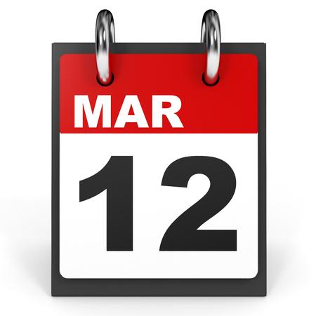 12: March 12. Calendar on white background. 3D illustration.