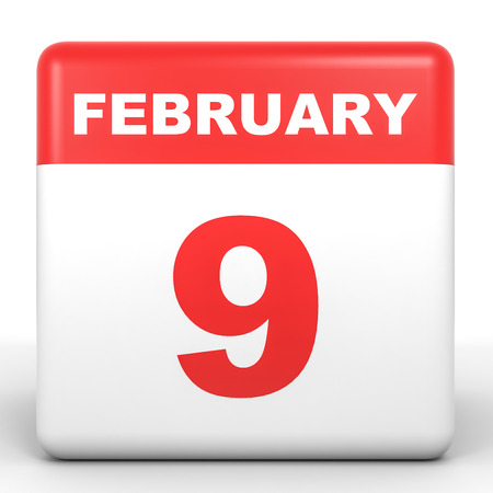 ninth: February 9. Calendar on white background. 3D illustration. Stock Photo