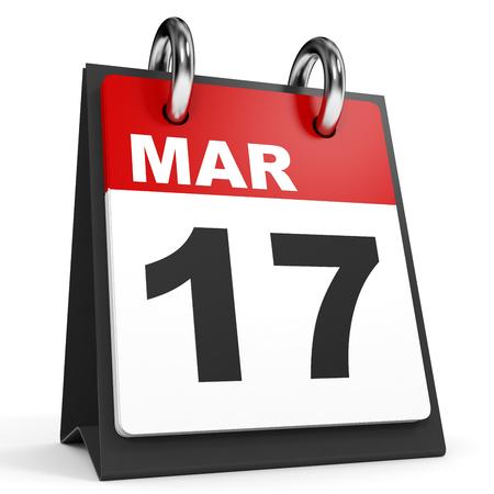 seventeenth: March 17. Calendar on white background. 3D illustration. Stock Photo
