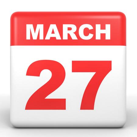 27: March 27. Calendar on white background. 3D illustration. Stock Photo