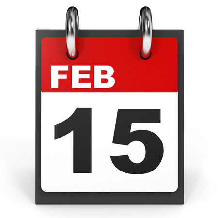 fifteenth: February 15. Calendar on white background. 3D illustration. Stock Photo