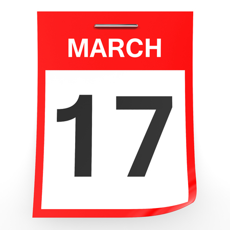 17th: March 17. Calendar on white background. 3D illustration. Stock Photo