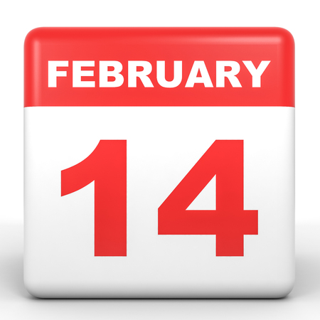 february 14th: February 14. Calendar on white background. 3D illustration.