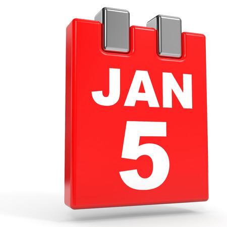 January 5. Calendar on white background. 3D illustration.