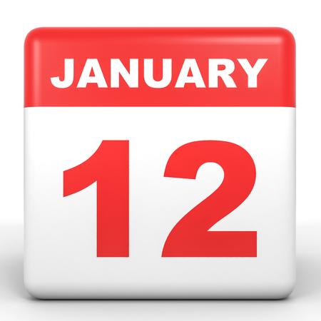 12: January 12. Calendar on white background. 3D illustration. Stock Photo