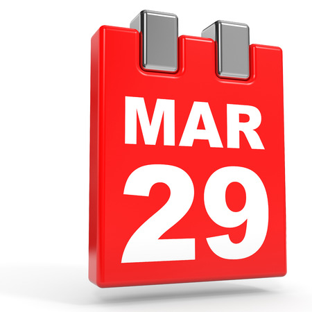 29: March 29. Calendar on white background. 3D illustration.