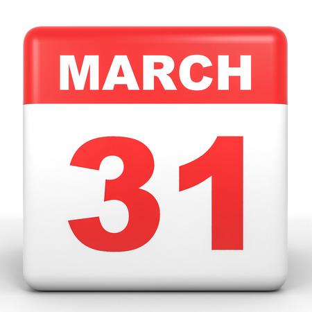 31st: March 31. Calendar on white background. 3D illustration. Stock Photo